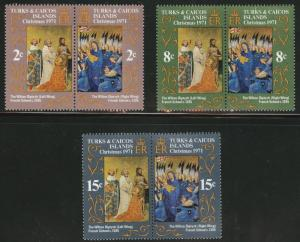 Turks and Caicos Scott 240-245 MNH** 1971 Christmas set