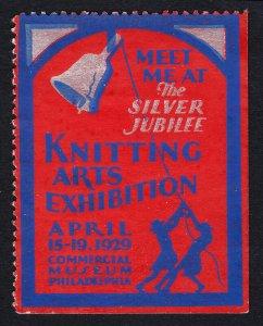 REKLAMEMARKE POSTER STAMP - KNITTING ARTS EXPO - SILVER JUBILEE 1929 PHILADELPIA