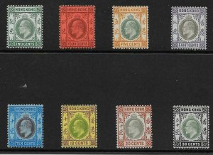 HONG KONG SG77/84 1904-6 SET TO 30c MTD MINT