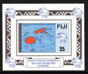 Fiji 513 UPU Map Souvenir Sheet MNH VF