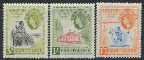 Basutoland / Lesotho  SG 55 / 57 Mint set - light hinge trace  - National Cou...