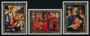 Niger C329-31 MNH Christmas, Art, Botticelli Paintings
