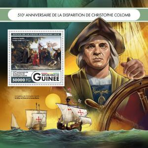 Guinea Ships Stamps 2016 MNH Christopher Columbus Famous Explorers People 1v S/S