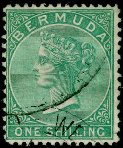 BERMUDA SG8, 1s green, FINE used. Cat £70.