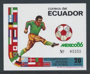 Ecuador #1130a NH 1986 World Cup Soccer, Mexico SS