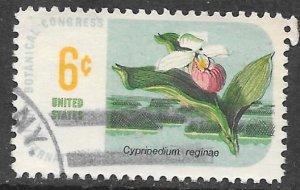 USA 1377: 6c Cypripedium reginae - Showy Lady's-slipper, used, VF