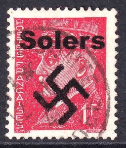 FRANCE 437 SOLERS OVERPRINT USED F/VF SOUND