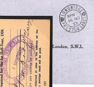 K128 GB LANCS 1933 Official *LONGRIDGE INDUSTRIAL CO-OP* Cachet OHMS Card