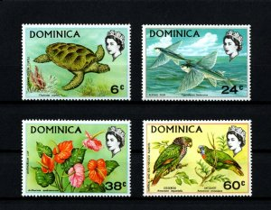 DOMINICA - 1970 - QE II - GREEN TURTLE - FISH - PARROT - FLOWER - # 2 - MNH SET!