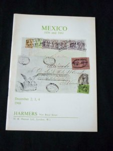 HARMERS AUCTION CATALOGUE 1968 MEXICO 1856 & 1861 ISSUES SPECIALISED COLLECTION