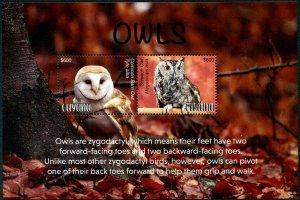 HERRICKSTAMP NEW ISSUES GUYANA Owls Souvenir Sheet
