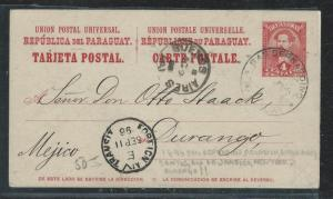 PARAGUAY  (PP2706B) 1896 4C PSC FROM SAN BERNARDINO TO MEXICO