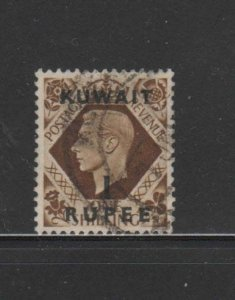 KUWAIT #79  1948  1r on 1sh   KING GEORGE VI SURCHARGED   F-VF  USED  c
