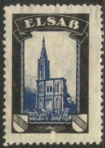 GERMANY 1920 Cinderella Mourning Label for Lost Territory of Alsace, F-VF, OG