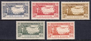 Ivory Coast - Scott #C1-C5 - MH - Disturbed gum, thin on #C4 - SCV $4.05