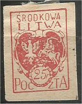 CENTRAL LITHUANIA, 1920, MH 25f, Coat of Arms  Scott 1