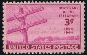 SC#924 3¢ Telegraph Centennial Single (1944) MNH