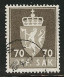 Norway Scott O76 official used stamp  1955