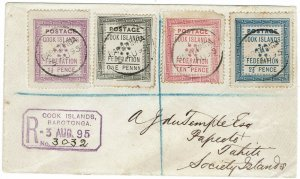 COOK ISLANDS 1892 TYPESET 1ST ISSUE SET ON REGISTERED COVER TO TAHITI