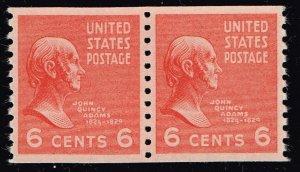 US STAMP #846 6¢ John Quincy Adams 1939 Presidential Series pair NNH/OG SUPERB