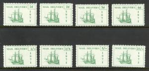 GREAT BRITAIN 1971 STRIKE POST LABELS SHIP SET OF 8 MNH