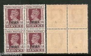 India PATIALA State KGVI ½A SERVICE SG O73 / Sc O65 BLK/4 MNH