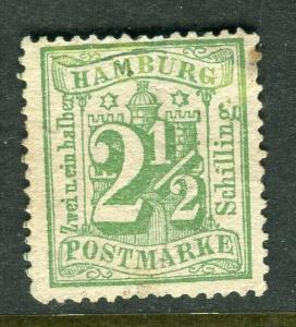 GERMANY; HAMBURG 1864-65 early classic perf issue fine unused 2.5s. value