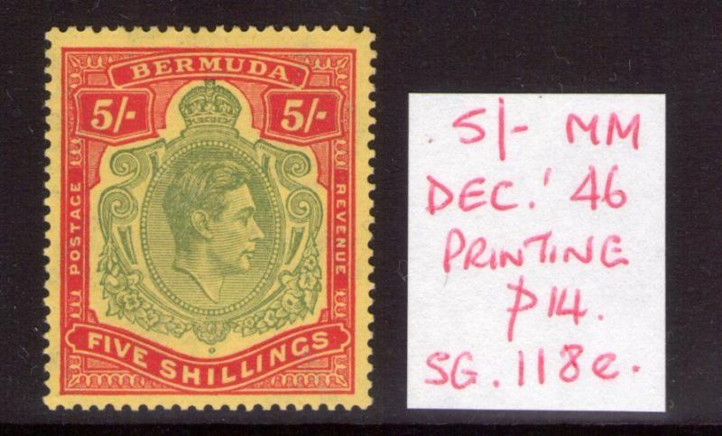 BERMUDA George VI 5/-SG118e Dec 46  lightly hinged condition.