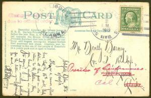 HAWAII 1912 PICTURE POSTCARD TO ALASKA -- UNIQUE USAGE?? -- HW779