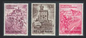 San Marino Cycle Tour of Italy 3v SG#770-772 SC#609-611