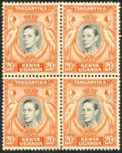 KUT Sc#74c SG#139 Block of 4 1938 KGVI 20c Perf Variety Mint Hinged