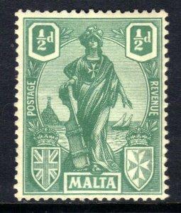 Malta 1922 - 26 KGV 1/2d Green Emblematic Statue MM SG 124 ( B985 )