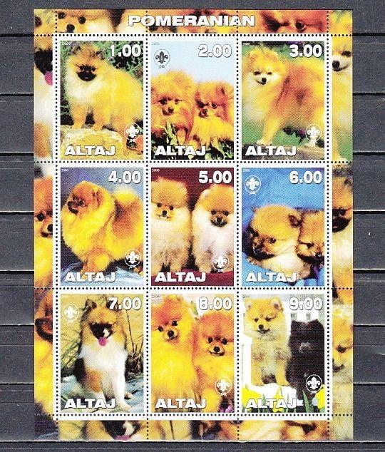 Altaj, 2000 Russian Local. Pomeranian Dogs sheet of 9.