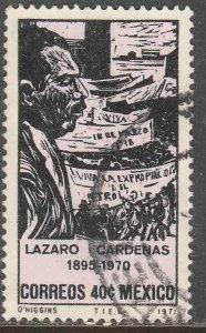 MEXICO 1035, In Memoriam Pres. Lazaro Cardenas.USED. VF. (722)