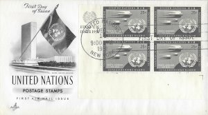 United Nations, New York #C4, 25c Air Mail, Art Craft, inscription block of 4
