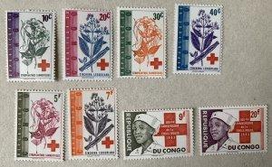 Congo DR 1963 Red Cross and Flowers , MNH. Scott 443-450 CV $4.25