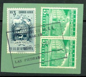 VENEZUELA 1953-54 3b ARMS OF APURE & 5c CARACAS x2 on Piece Sc C515, 703x2 VFU