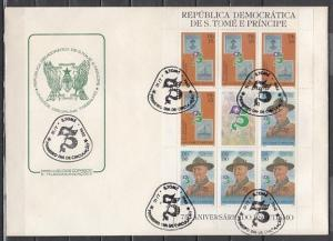 St.Thomas, Scott cat. 658-659. Scout Anniv. sheet with Label. First day cover.