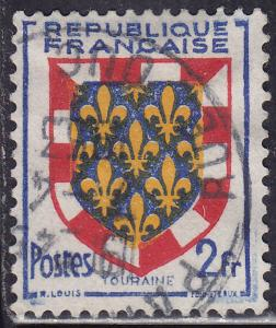 France 662 Used 1951 Arms of Touraine 2Fr