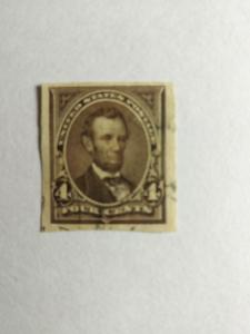 SCOTT #222P USED PROOF INDIAN PAPER FOUR CENT LINCOLN GREAT CENTERING AND COLOR