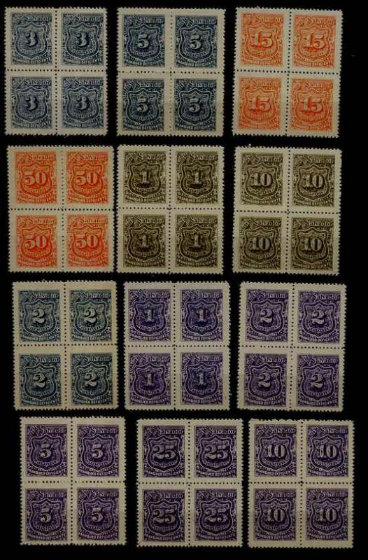 Salvador 12 MNH bl. of 4, postage dues