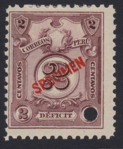 PERU 1909 Postage due SPECIMEN opt in red + security punch hole ............7981