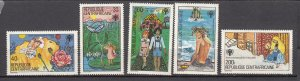 J27835 1979 central africa set mnh #393-7 designs