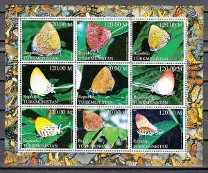Turkmenistan, 2000 Russian Local. Butterflies sheet of 9.