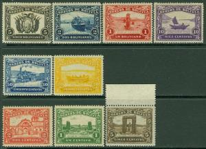 EDW1949SELL : BOLIVIA 1915 Unissued set of 9. Very Fine, Mint Never Hinged.