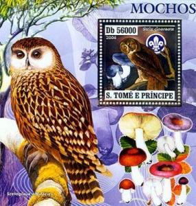 SAO TOME E PRINCIPE 2006 SHEET BIRDS MUSHROOMS OWLS SILVER st6407b
