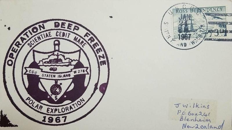 L) 1967 ROSS DEPENDECY, ANTARCTIC, BOAT, 3D, BLUE, OPERATION DEEP FREEZE, POLAR