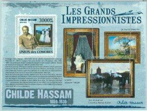 A0317 - COMOROS, ERROR, MISPERF, Souvenir sheet: 2009, Childe Hassam, Art