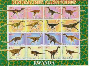 Rwanda 2001 Carnivorous Dinosaurs - Sheet of 16  Stamps 18A-060
