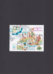 1992 Olympics Stamps Barcelona Spain Souvenir Sheet mint never hinged